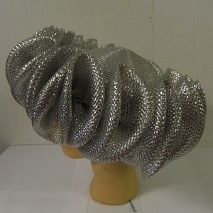 Silver Pillbox Hat Ruffled Gathered Trim